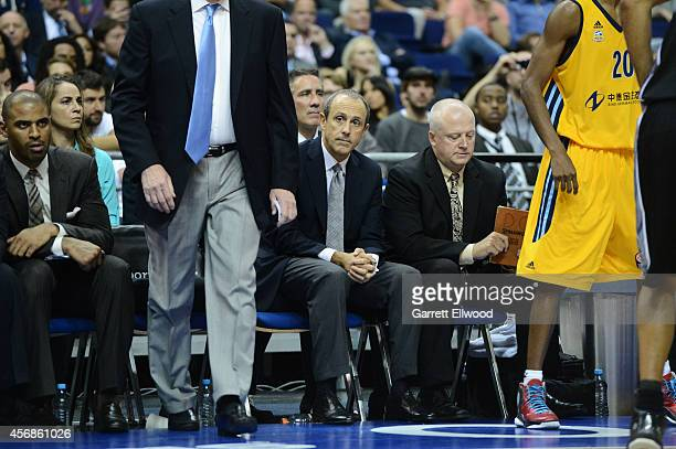 San Antonio Spurs Assistant Coach Ettore Messina looks on against Alba Berlin during a game as part of the 2014 Global Games on October 8 2014 at the...