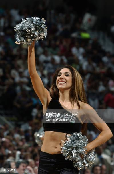 San Antonio Spurs cheerleader performs during Game one of the 2003 NBA Finals between the Spurs and the New Jersey Nets at SBC Center on June 4, 2003...
