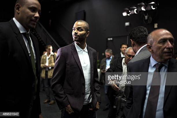 San Antonio SPURS' French basketball player and president of basketball club ASVEL Tony Parker arrives at a press conference to present the...