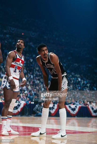 San Antonio Spurs' George Gervin pauses for a moment to rest during a game against the Washington Bullets at Capital Centre circa 1978 in Washington,...