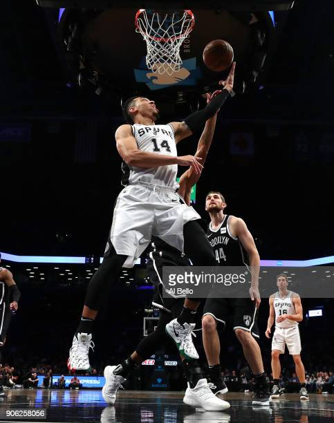 San Antonio Spurs guard Danny Green shoots against the Brooklyn Nets during their game at The Barclays Center on January 17 2018 in New York City...