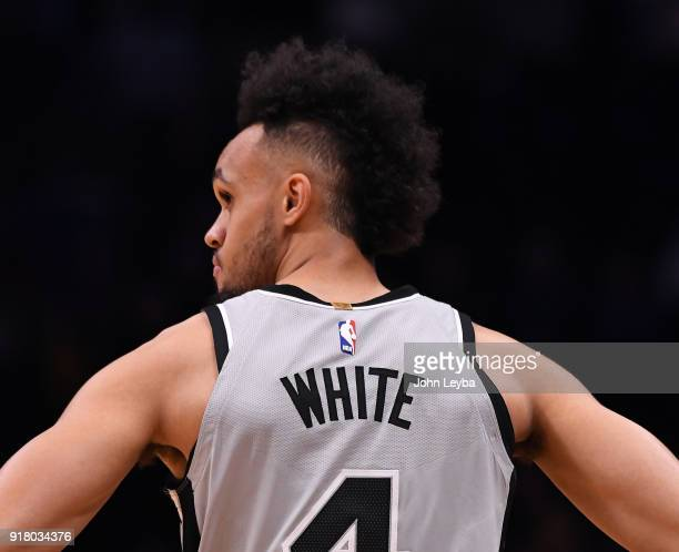 San Antonio Spurs guard Derrick White enters the game during the fourth quarter against the Denver Nuggets on February 13 2018 at Pepsi Center