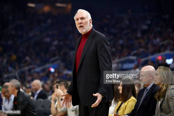San Antonio Spurs head coach Gregg Popovich questions a play during their game against the Golden State Warriors at Chase Center on November 01 2019...