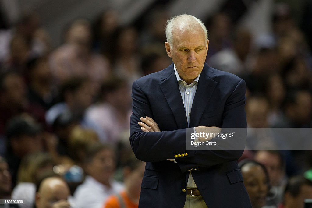 San Antonio Spurs head coach Gregg Popovich reacts to a call during a game against the Memphis Grizzlies on October 30, 2013 at the AT&T Center in San Antonio, Texas.