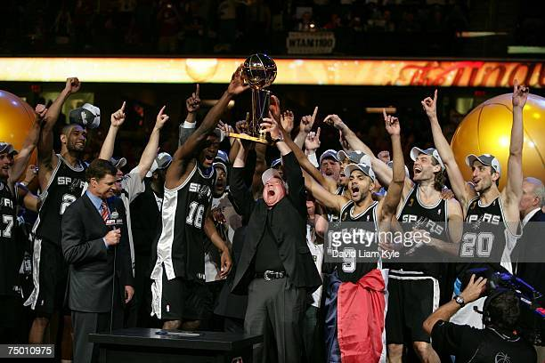 San Antonio Spurs owner Peter Holt celebrates with his team after defeating the Cleveland Cavaliers in Game Four of the NBA Finals at the Quicken...
