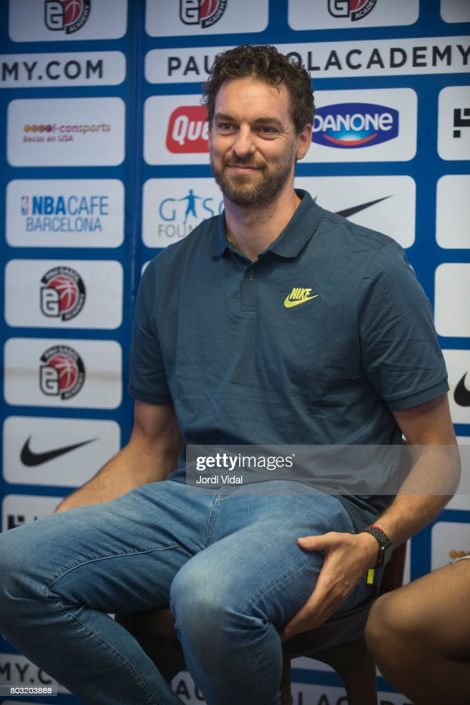 San Antonio Spurs player Pau Gasol attends the press during the presentation of Pau Gasol Academy 2017 at Cafe NBA on June 29, 2017 in Barcelona, Spain.