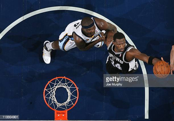 San Antonio Spurs power forward Antonio McDyess goes to the basket during an action against the Memphis Grizzlies in Game Six of the Western...