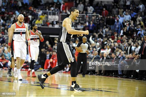 San Antonio Spurs shooting guard Danny Green celebrates a shot against the Washington Wizards during the second half at the Verizon Center in...