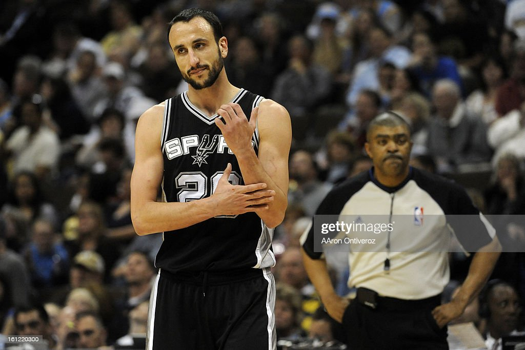 San Antonio Spurs shooting guard Manu Ginobili (20) walks away from the referee after arguing a call against the Denver Nuggets during the second half on Wednesday, March 23, 2011 at the Pepsi Center. AAron Ontiveroz, The Denver Post : News Photo