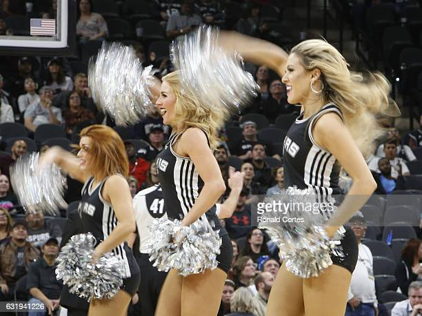 San Antonio Spurs Silver dancers perform during game between the Spurs and Minnesota Timberwolves at ATT Center on January 17 2017 in San Antonio...