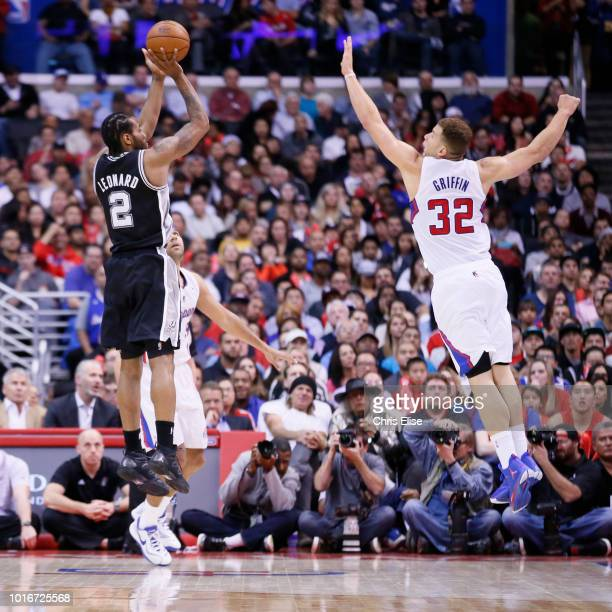 San Antonio Spurs small forward Kawhi Leonard takes a jumpshot over Los Angeles Clippers power forward Blake Griffin during the Los Angeles Clippers...