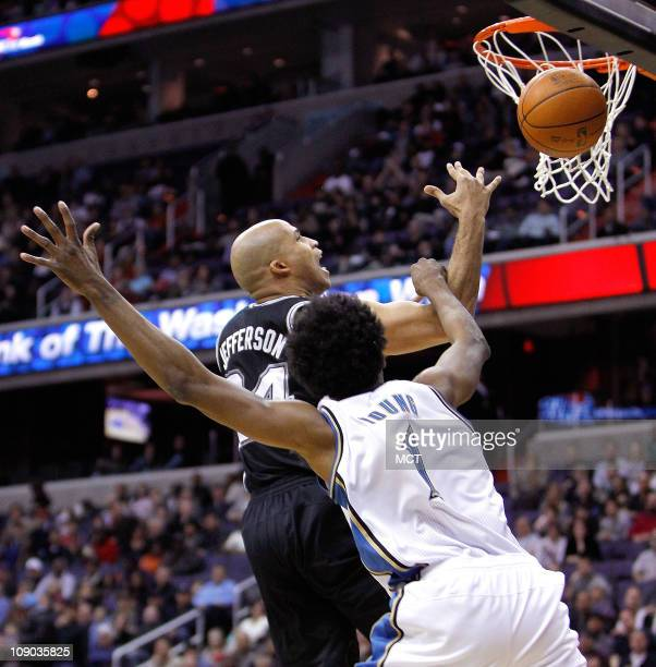 San Antonio Spurs small forward Richard Jefferson is fouled by Washington Wizards shooting guard Nick Young during their game played at the Verizon...