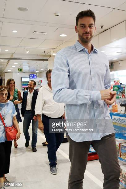 San Antonio Spurs's player Pau Gasol attends the firm exemplary of his new book 'Under the Hoop' accompanied by her girlfriend Catherine McDonnell on...