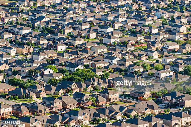 san antonio suburban housing development - aerial view - san antonio texas stock photos and pictures