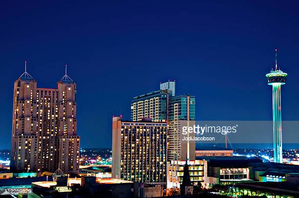 san antonio texas city  aerial tower of  the america's - san antonio stock photos and pictures