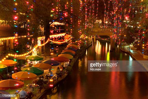 San Antonio Texas River walk At Night Holiday Lights Are In Trees Reflection Of Lights On River