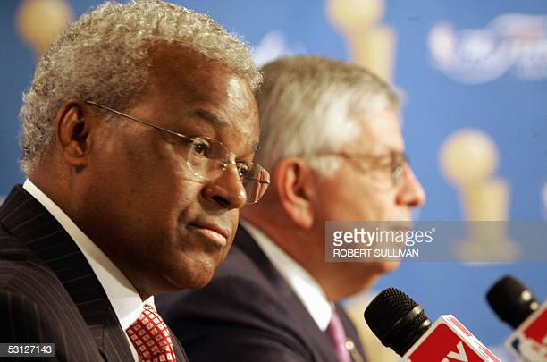 Billy Hunter NBA Players Association Director and David Stern NBA Commissioner address a press conference before game six of the NBA Finals 21 June...