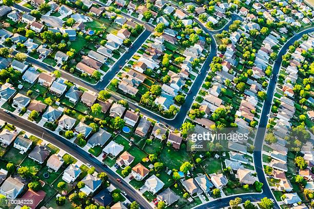 san antoniotexas  suburban housing development neighborhood - aerial view - san antonio stock photos and pictures