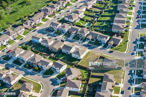 san antoniotexas suburban housing development neighborhood - aerial view - san antonio texas stock photos and pictures