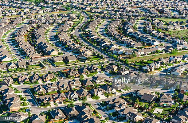 San AntonioTexas suburban housing development neighborhood - aerial view