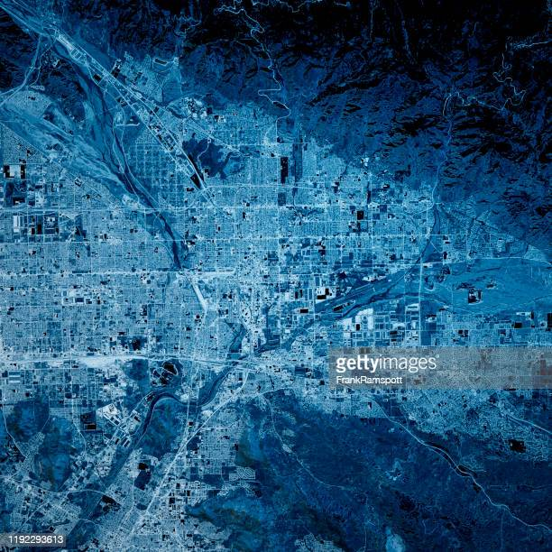 san bernardino california 3d render map blue top view oct 2019 - frank ramspott stock pictures, royalty-free photos & images