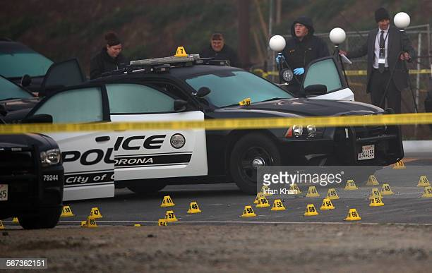 CHINO CA FEBRUARY 05 2015 San Bernardino County Sheriff investigators are still on scene on Thursday morning where a man was killed in an...