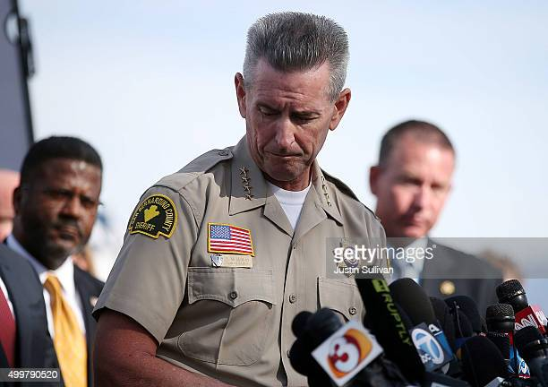 San Bernardino County Sheriff John McMahon pauses as he speaks during a news conference near the Inland Regional Center on December 3 2015 in San...