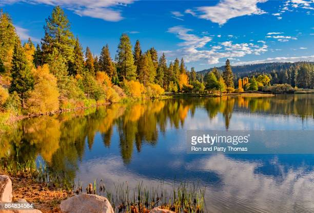 san bernardino county with autumn foliage at grass valley lake , ca (p) - big bear lake stock pictures, royalty-free photos & images
