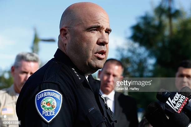 San Bernardino Police Chief Jarrod Burguan speaks with the media regarding the shooting that occurred at the Inland Regional Center on December 2...