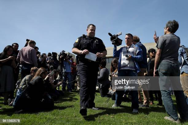 San Bruno police chief Ed Barberini speaks to members of the media outside of the YouTube headquarters on April 3 2018 in San Bruno California Police...