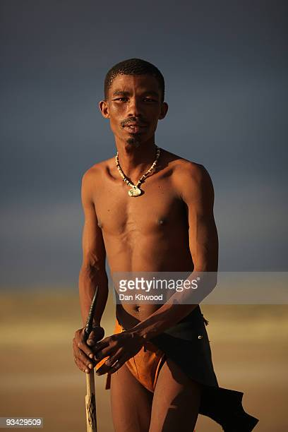 San Bushman from the Khomani San community poses for a photograph in the Southern Kalahari desert on October 15 2009 in the Kalahari South Africa One...