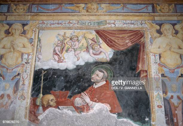 San Carlo Borromeo fresco in the Sanctuary of the Blessed Ugolino Fiastra Marche Italy 17th century