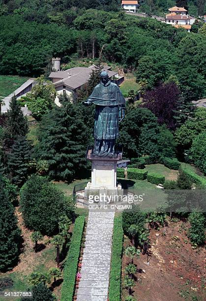 San Carlone or Sancarlone or the Colossus of St Charles Borromeo by Giovanni Battista Crespi known as Il Cerano aerial view Arona Lake Maggiore...