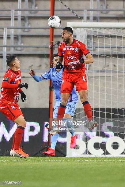 San Carlos defender Fernando Antionio Brenes Arrieta heads the ball during the first half of the Scotiabank Concacaf Champions League game between AD...
