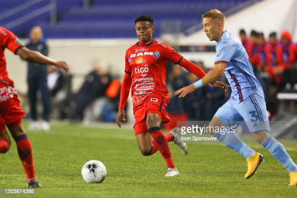 San Carlos defender Grelvin Martinez during the first half of the Scotiabank Concacaf Champions League game between AD San Carlos and New York City...