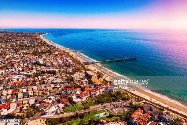 san clemente california aerial - orange county crowded beaches stock pictures, royalty-free photos & images