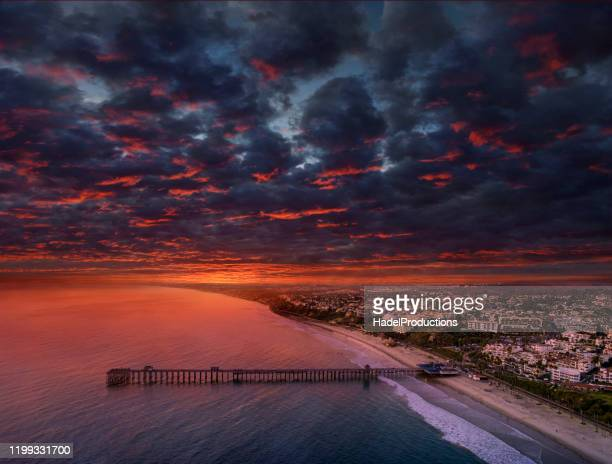 san clemente pier at sunset, california - san clemente california stock pictures, royalty-free photos & images