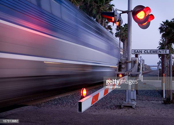 san clemente train - railroad crossing stock pictures, royalty-free photos & images