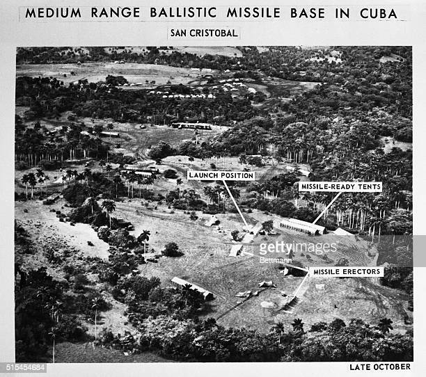 San CristobolCuba This is an Aerial Reconnaissance Photo taken over San Cristobal in Cuba in late October showing missile erectors missile ready...