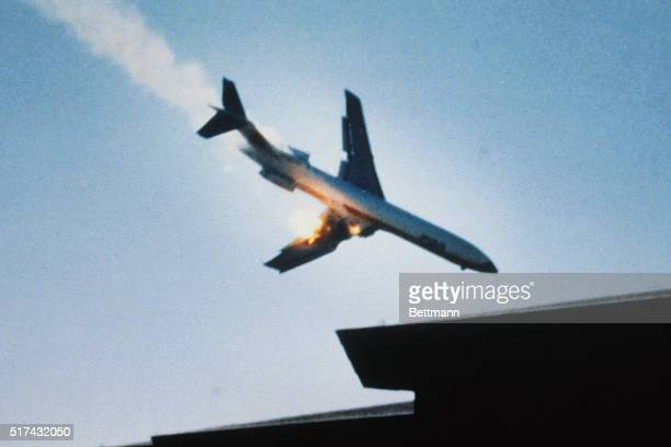 A PSA jet with 136 aboard its right wing afire plunges toward a San Diego residential neighborhood 9/25/78 All on board the jet were killed in...