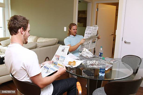 San Diego Airbnb Host and Rookie of the Year Wil Myers Welcomes Guest Noah Syndergaard on July 11 2016 in San Diego California