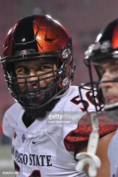 San Diego Aztecs offensive lineman Nico Siragusa during the Fresno State Bulldogs and the San Diego Aztecs NCAA football game The Bulldogs fell to...