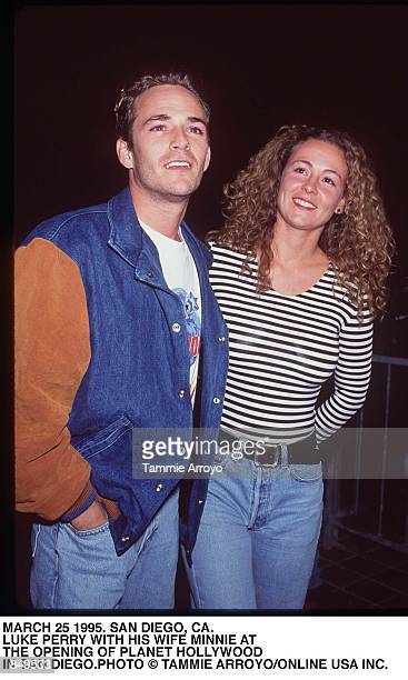 San Diego CA Luke Perry with his wife Minnie Sharp at the opening of Planet Hollywood in San Diego