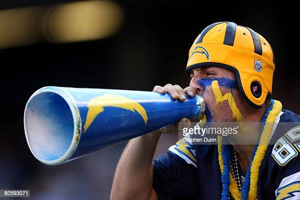 San Diego Chargers fan shouts through a megaphone during the game with the Seattle Seahawks on August 25 2008 at Qualcomm Stadium in San Diego...