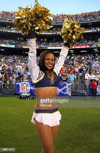 San Diego Chargers Girl cheerleader Alicia on the sidelines during game against the Cleveland Browns at Qualcomm Stadium in San Diego Calif on Sunday...
