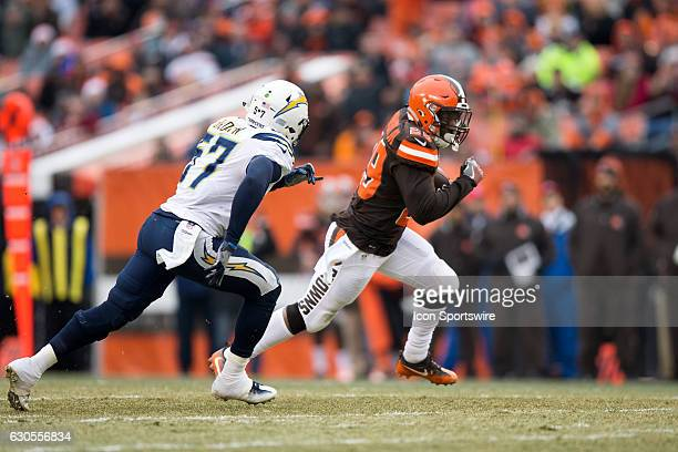 San Diego Chargers Linebacker Jatavis Brown attempts to run down Cleveland Browns Running Back Duke Johnson Jr during the second quarter of the...