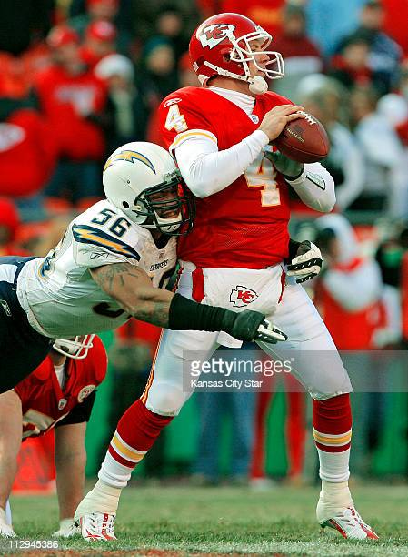 San Diego Chargers linebacker Shawne Merriman sacks Kansas City Chiefs quarterback Tyler Thigpen in the fourth quarter The Chargers defeated the...