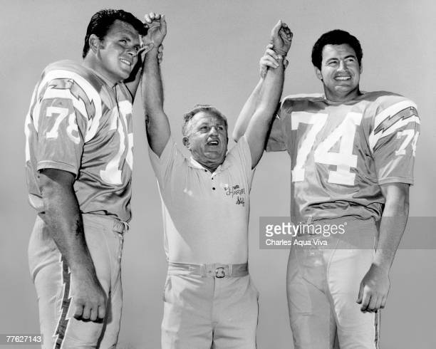 San Diego Chargers offensive lineman Walt Sweeney and Ron Mix with offensive line coach Joe Madro circa 1967