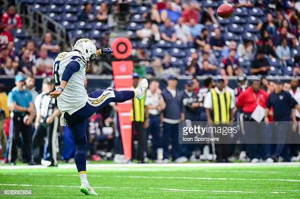 San Diego Chargers Punter Drew Kaser gets a second half punt away during the NFL football game between the San Diego Chargers and Houston Texans on...