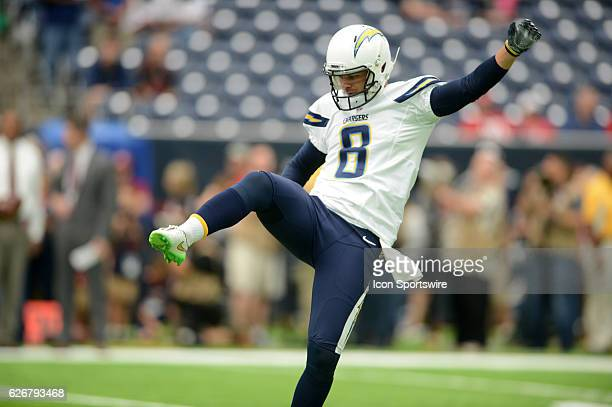 San Diego Chargers punter Drew Kaser participates in action during pregame activities prior to NFL game featuring the Houston Texans and the San...